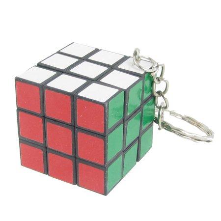 White Green Magic Cube Shaped Pendant Metal Key Ring Keychain