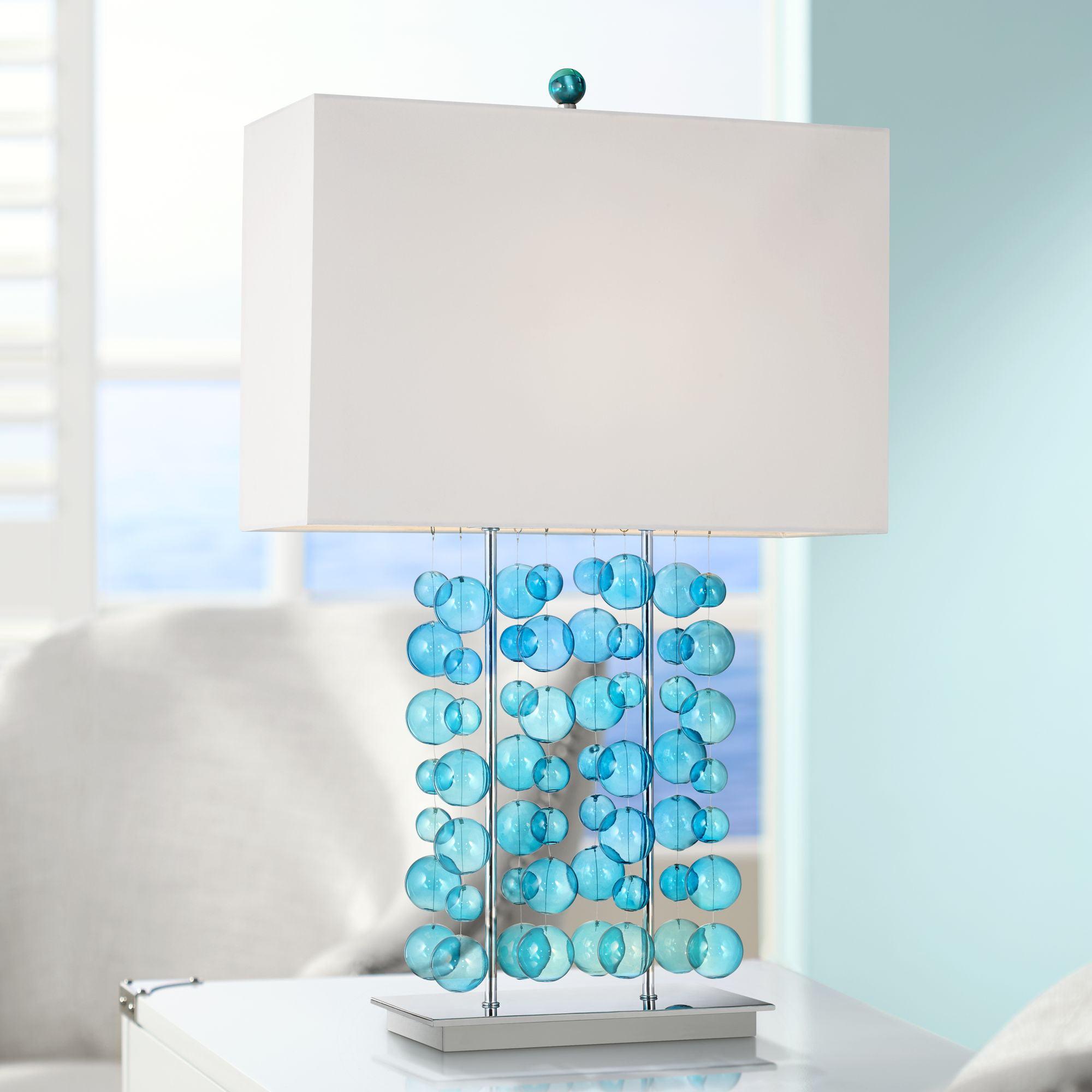 Possini Euro Design Modern Table Lamp Blue Bubble Cascade Glass Chrome Bright White Box Shade For Living Room Bedroom Family Walmart Com Walmart Com