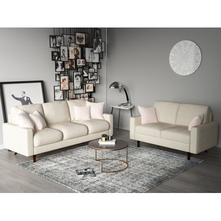 US Pride Furniture Elroy Matte Velvet Fabric 2 Piece Living Room Set, Beige