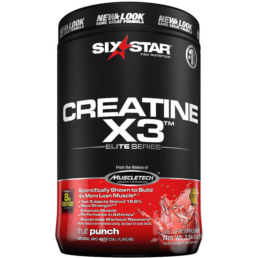 Six Star Pro Nutrition Creatine X3 Powder Fruit Punch, 2.5 lb