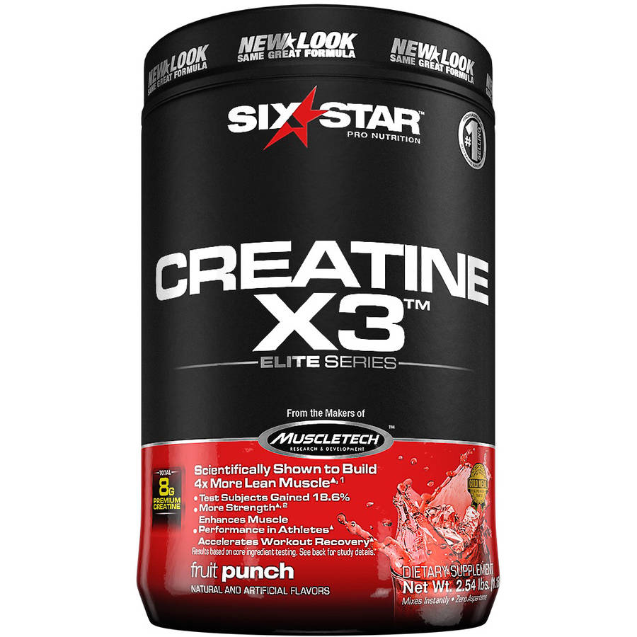 Six Star Pro Nutrition Creatine X3 Powder Fruit Punch, 2.5 lb