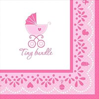 Amscan Sweet Celebrate Baby Girl Beverage Napkins, 5 x 5, Pink/White