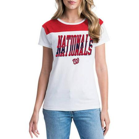 30c9165f5b3 MLB Washington Nationals Women s Short Sleeve White Graphic Tee