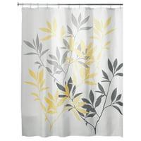 "InterDesign Leaves Fabric Shower Curtain, Standard 72"" x 72"", Gray/Yellow"