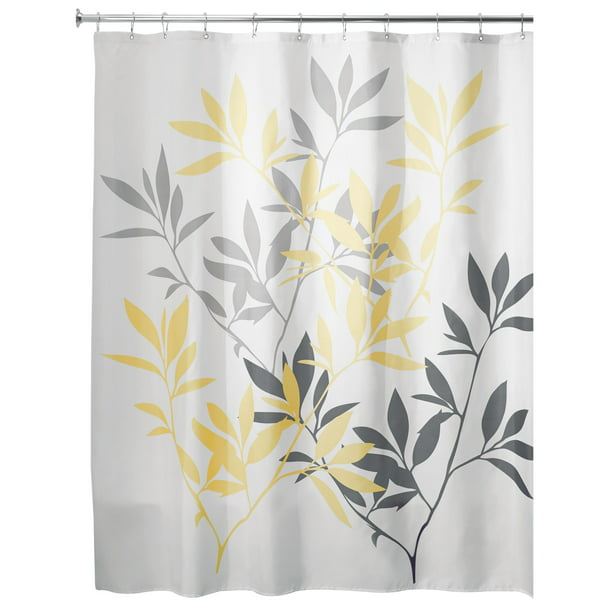 Yellow Gray Leaves Fabric Shower, Gray White And Yellow Shower Curtains