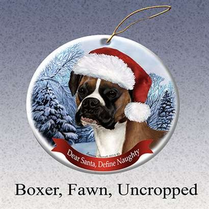 Holiday Pet Gifts Boxer Fawn, Uncropped Santa Hat Dog Porcelain Christmas Tree Ornament