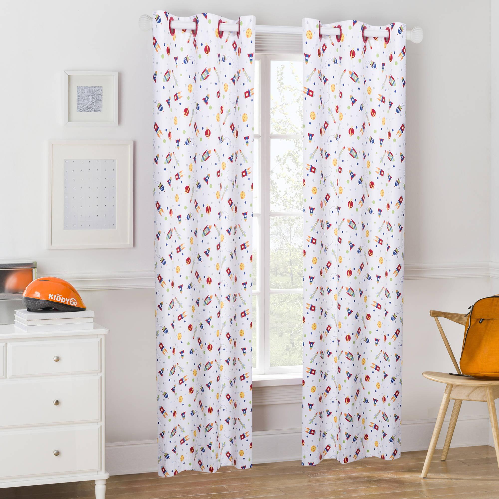 Mainstays Kids Rockets Room Darkening Coordinating Window Curtain
