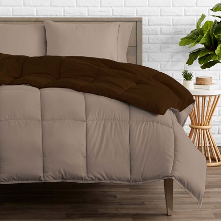 Bare Home Ultra-Soft Premium 1800 Series Goose Down Alternative Reversible Comforter - Hypoallergenic - All Season - Plush Fiberfill, Twin Extra Long (Full/Queen, Cocoa/Taupe) ()