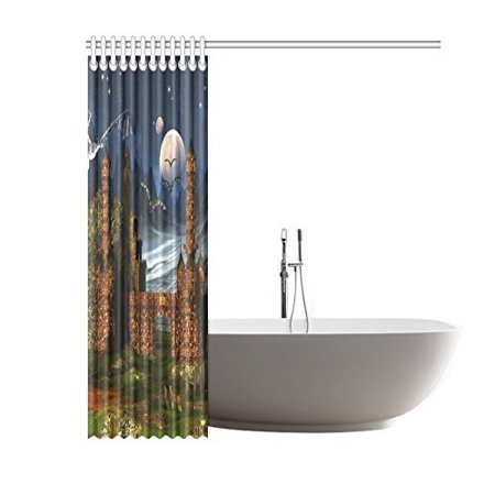 BSDHOME Fantasy Scene With A Castle And DragonsShower Curtain Bathroom Decor 60x72 Inch - image 1 of 2