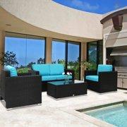 Kinbor 4pcs Outdoor Patio Furniture Pe Wicker Rattan Sofa Sectional Set Blue