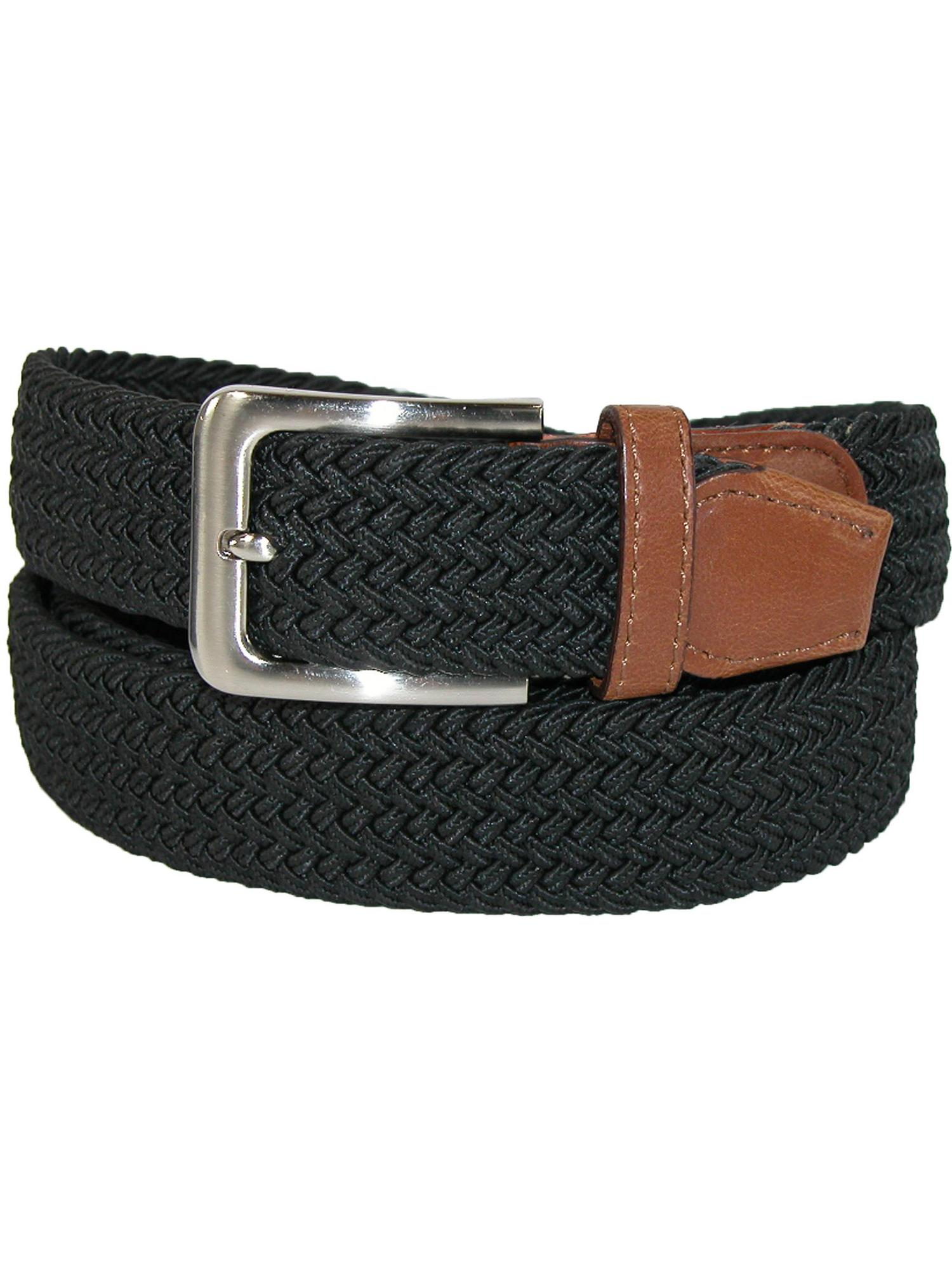 Men's Big & Tall Elastic Braided Belt with Silver Buckle and Tan Tabs