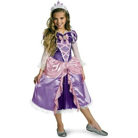 Disney Movie Tangled Girls Princess Rapunzel Deluxe Dress Costume