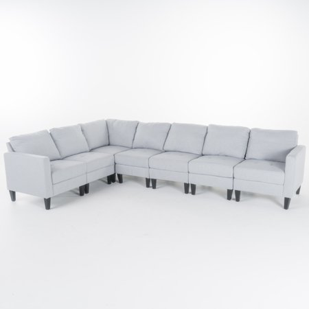 Excellent Carolina 7 Piece Fabric Sectional Couch Light Grey Machost Co Dining Chair Design Ideas Machostcouk