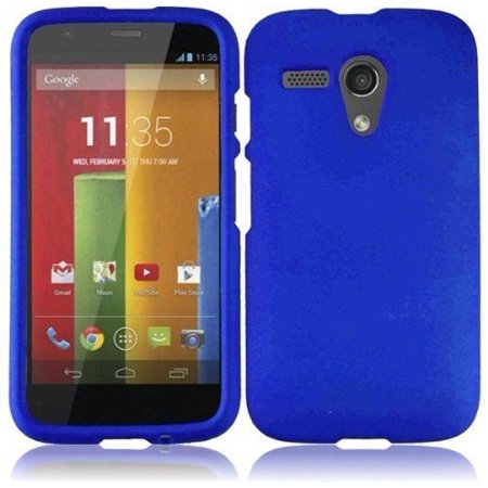 Rubberized Blue Snap - For Motorola Moto G Rubberized HARD Protector Case Snap On Phone Cover - Blue
