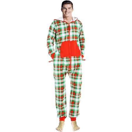 Check Pajama (Mens Fashion One Piece Jumpsuit Check Pattern One Piece non Footed Pajamas )