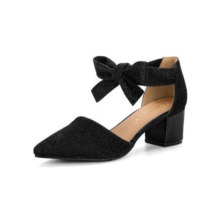 06f6749961d9 Women s Block Heels Lace Up Sandals Glitter Black Pumps - 7 M US - image 7  ...