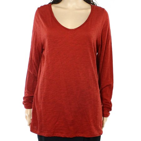 INC NEW Red Womens Size Large L V-Neck Slub Knit Burnout Tee T-Shirt