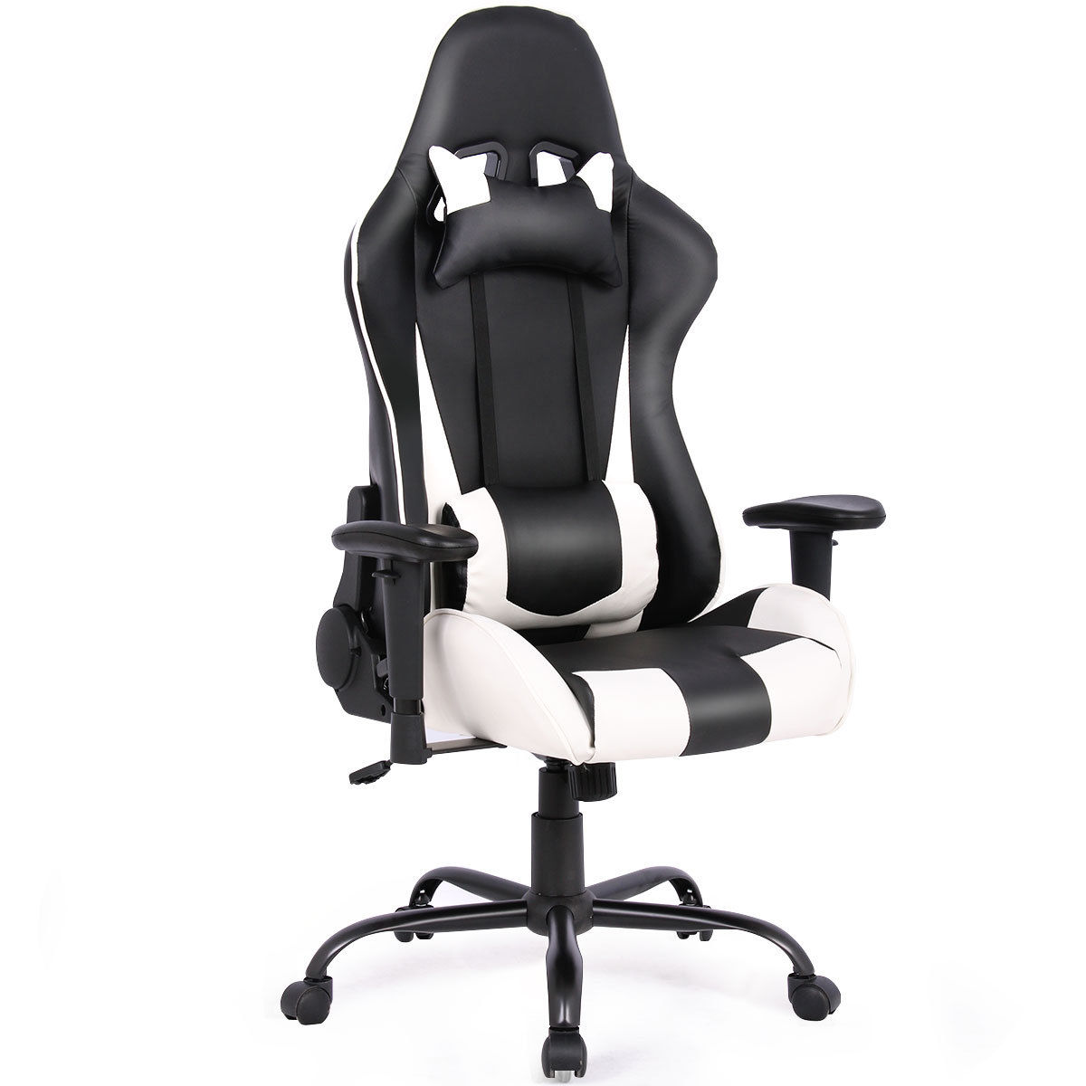 Costway Gaming Chair Racing High Back Office Chair w/ Lumbar Support and Headrest White