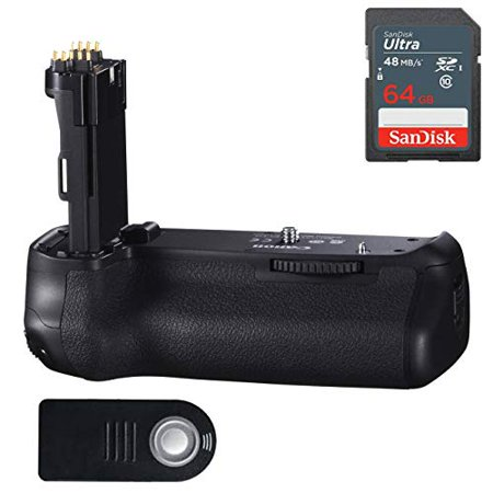 - Canon BG-E14 Battery Grip for Canon EOS 70D and 80D DSLR Cameras with Sandisk 64GB High Speed Memory & Wireless Shutter Release Remote