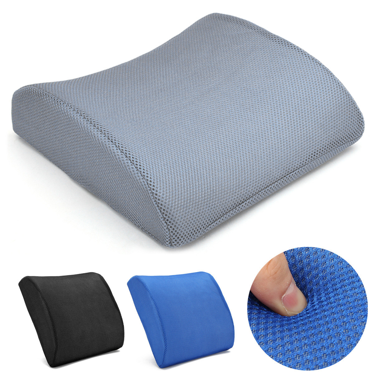 SIMSHION Memory Foam Car Seat Chair Lumbar Back Support Waist Cushion Neck Rest Pillow With 3D Breathable Mesh Cover Design for Lower Back Pain and Tightness Relief,Best for Office,Home Car