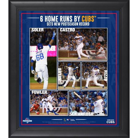 Chicago Cubs 2015 Mlb Playoffs Nlds Game 3 Home Run Record Framed 15   X 17   Collage   Fanatics Authentic Certified