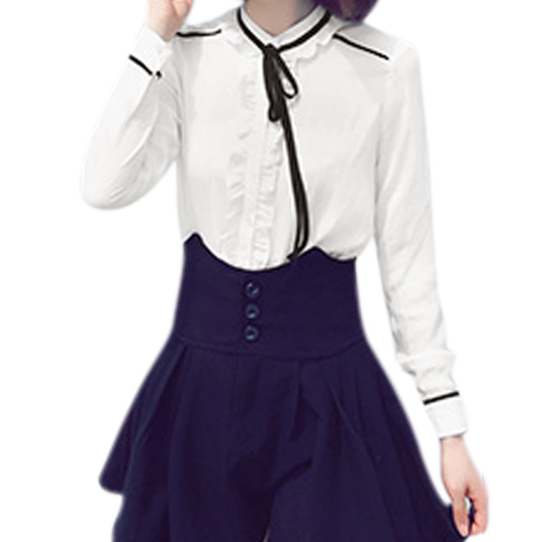 Women Self Tie Decor Stand Collar Ruffled Front Casual Shirt White XS