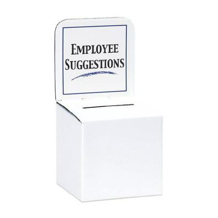 MCB Large Cardboard Box - Ballot Box - Suggestion Box - Raffle Box - Ticket Box - With Removable Header for Tabletop Use (White-5 - Cardboard Ballot Box