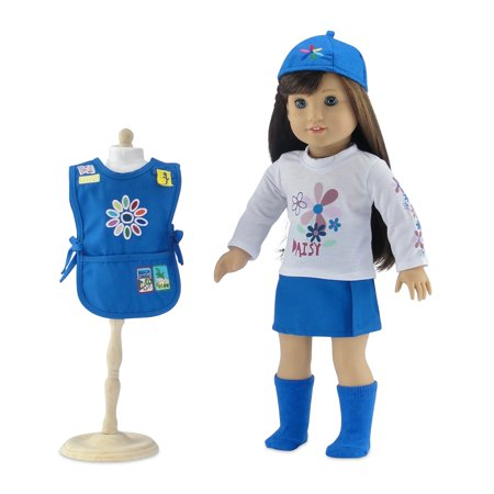 18 Inch Doll Clothes | Daisy Girl Scout-Inspired Outfit, Includes Blue Skirt, LS White T-Shirt with Daisy Print, Blue Tunic with Embroidered Patches, Matching Hat and Socks | Fits American Girl Dolls