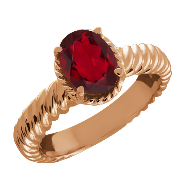 1.60 Ct Oval Red Mystic Topaz 18k Rose Gold Ring