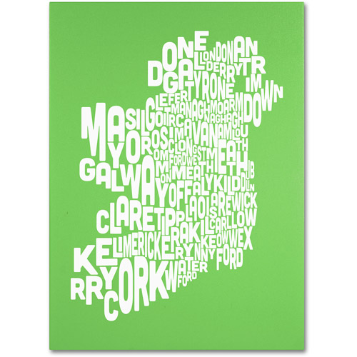 Trademark Art 'LIME-Ireland Text Map' Canvas Art by Michael Tompsett