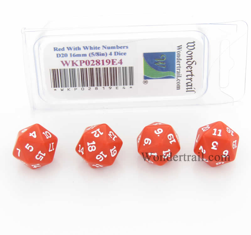 Red Opaque Dice with White Numbers D20 16mm (5/8in) Pack of 4 Wondertrail