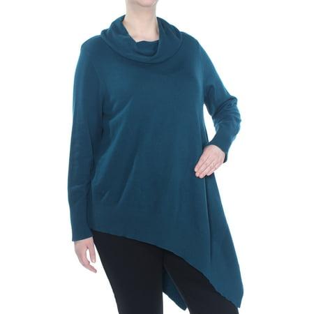 Alfani Urban Teal Asymmetrical-Hem Cowl-Neck Sweater