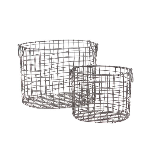 Woodland Imports 2 Piece Wire Meshed Metal Container Set