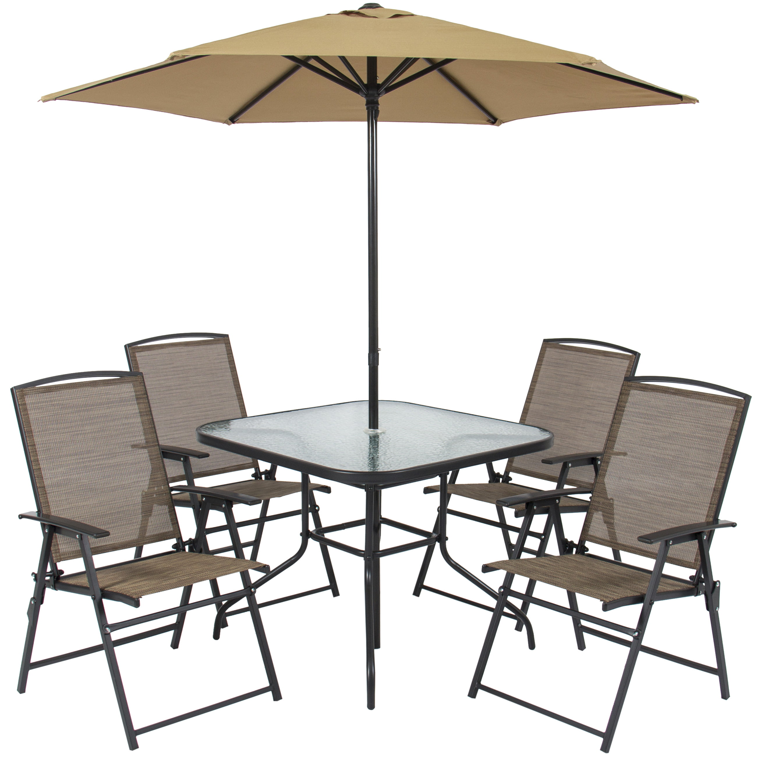 Best Choice Products 6 Piece Outdoor Folding Patio Dining Set W/ Table, 4  Chairs, Umbrella, And Built In Base  Tan   Walmart.com