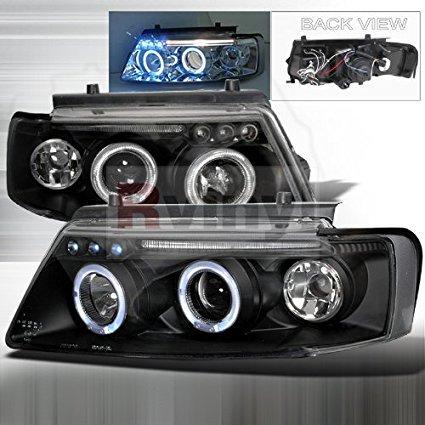 Spec-D Tuning Volkswagen Passat 1997 1998 2000 LED Halo Projector Headlights - Black Smoke