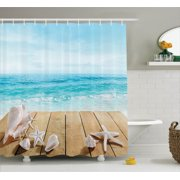 Seashells Decor Wooden Boardwald With Seashells Resort Sunshine Vacations Maldives Deck Waves Beach Theme, Bathroom