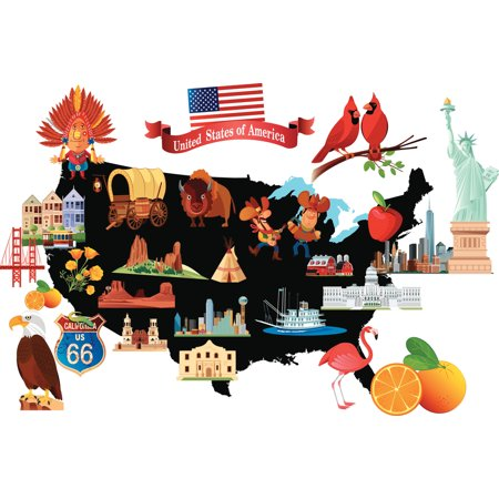 Cartoon Map Of The United States USA With Symbols Art Print Poster - Us map poster walmart
