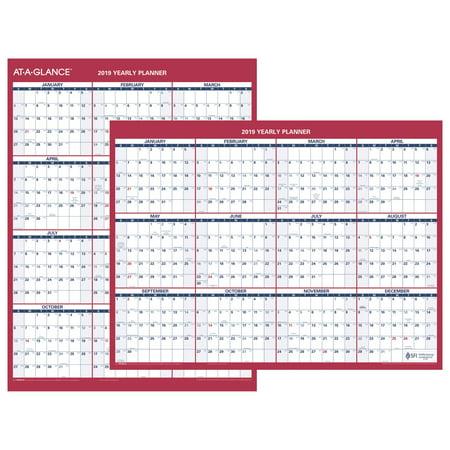 At-A-Glance Reversible Compact Erasable Wall Calendar - Yearly Wall