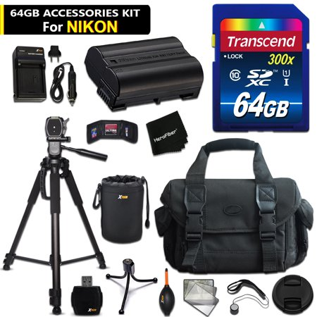 D500 Compressor - 64GB Accessory Kit for Nikon D500, D750, D7200, D7100, D810a, D810, D610, D800, D600, D7000, 1 V1 Cameras Includes 64GB High-Speed Memory Card + Fitted Case + Battery / Charger + 72 inch Tripod + MORE