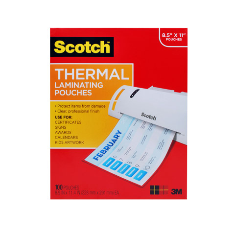 Thermal Pouches Letter 100Pk