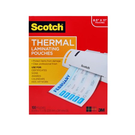 Scotch Thermal Laminating Pouches 100 pack, Letter Size, 9.5in 11.5in., 3mil thickness, 100 Pouches per Pack