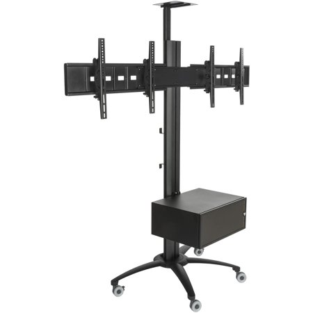 Locking Stand - Displays2go LPGP36WB2C Heavy Duty TV Stand for Dual Flat Screens, 30-60