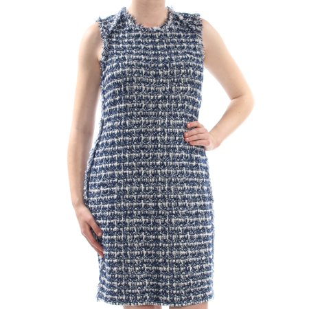 ST JOHN Womens Blue Frayed Herringbone Sleeveless Crew Neck Knee Length Evening Dress  Size: 2