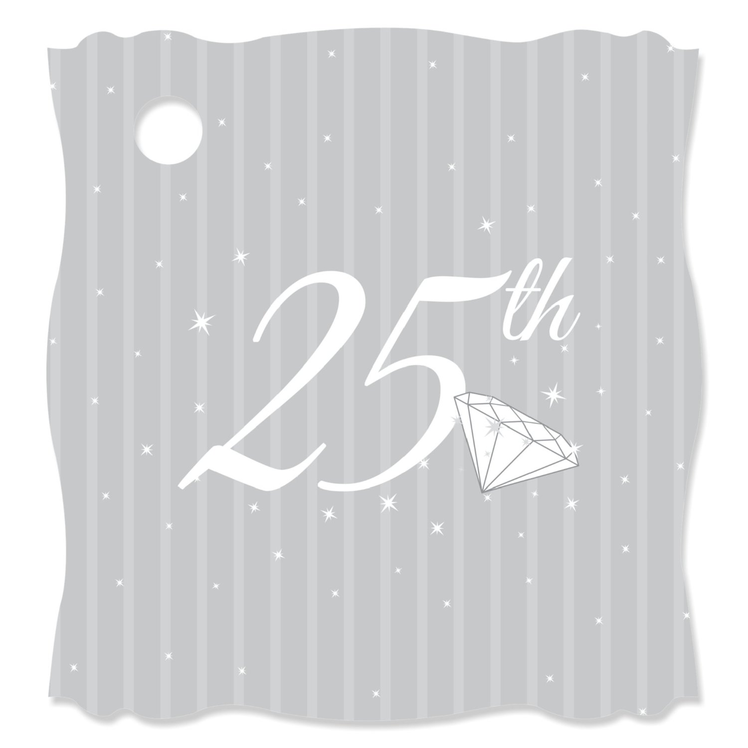 25th Anniversary - Die-Cut Party Favor Tags - (Set of 20)
