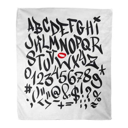 KDAGR 50x60 inch Super Soft Throw Blanket Hip Written Graffiti Alphabet Hop Spray Paint Letter Text Retro Script Home Decorative Flannel Velvet Plush Blanket