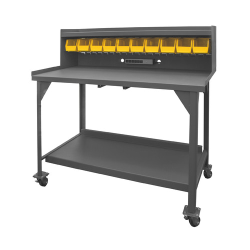 Durham Manufacturing 10 Bins Mobile 60''W Steel Top Workbench