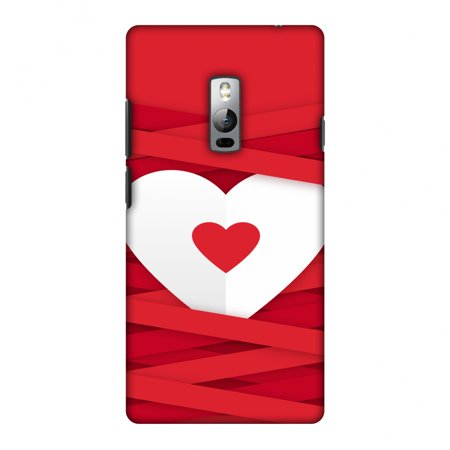 OnePlus 2 Case, Premium Handcrafted Printed Designer Hard Snap On Case Back Cover for OnePlus 2 - Heart In Ribbons Two Hearts Snap