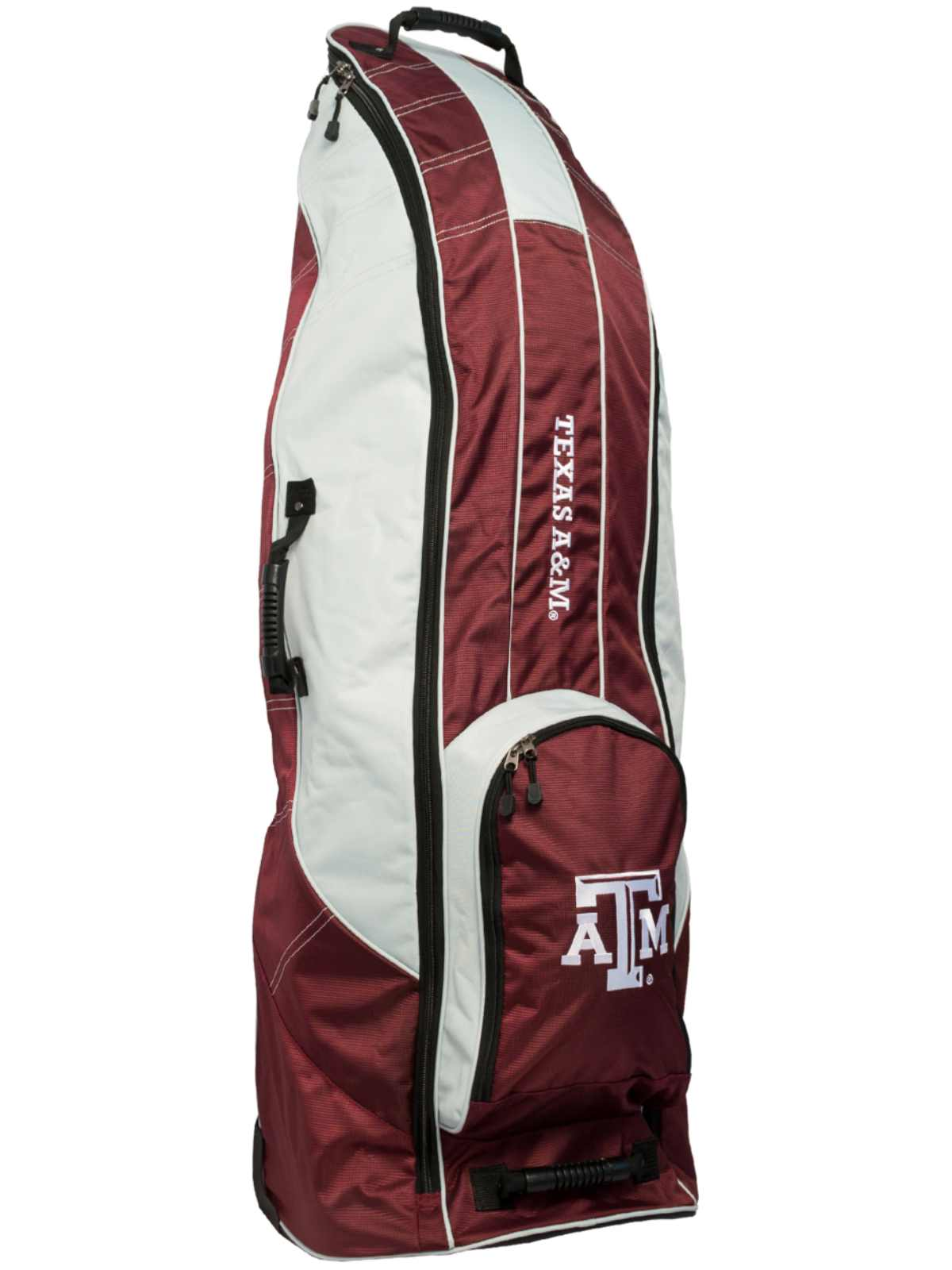 Click here to buy Texas A&M Aggies Team Golf Red Golf Clubs Wheeled Luggage Travel Bag.