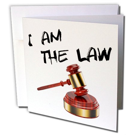 3dRose I am the law - judge gavel with sound block - Greeting Cards, 6 by 6-inches, set of - Judges Gavel