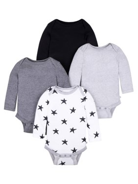Little Star Organic Baby Girl or Boy Long Sleeve Pure Organic True Brights Bodysuits, 4-pack